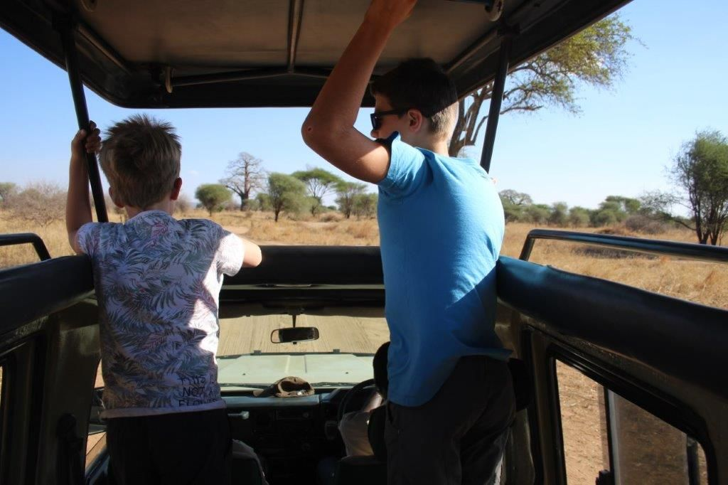 With children on Safari